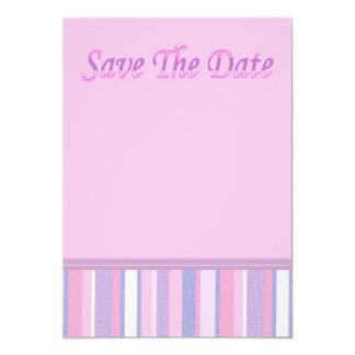 Sauvez l'invitation de date avec la rayure rose et carton d'invitation  12,7 cm x 17,78 cm