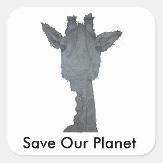 Sauvez notre autocollant de girafe de planète