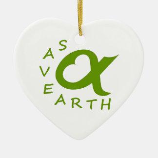 save earth planète ornement cœur en céramique