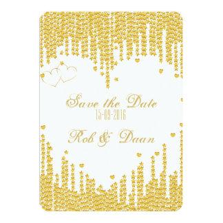 Save the Date - Goud hart -uitnodiging Kaart