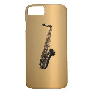 Saxophone sur l'effet de cuivre en bronze coque iPhone 7