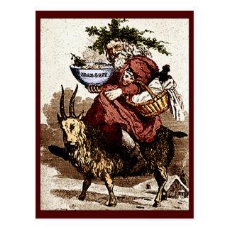 Scandinave vintage Père Noël et chèvre de Noël Carte Postale