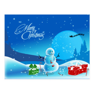 Scène de bonhomme de neige de Joyeux Noël Carte Postale