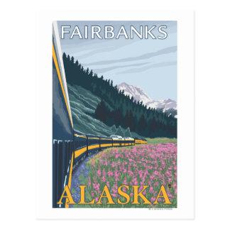 Scène de chemin de fer de l'Alaska - Fairbanks, Carte Postale