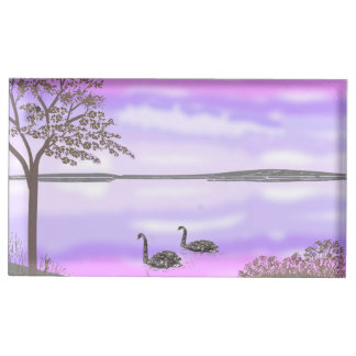 Scène de coucher du soleil de lac avec des cygnes, porte-cartes de  table
