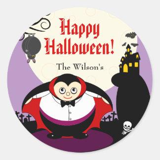 Scène de Dracula de vampire de Halloween de bande Sticker Rond