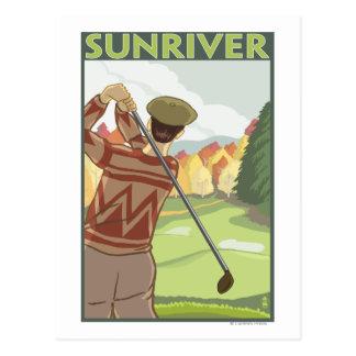 Scène de golfeur - rivière de Sun, Orégon Carte Postale
