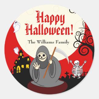 Scène de la mort de Halloween de pleine lune de Sticker Rond