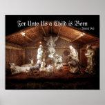 Scène de Manger de nativité de Jésus de bébé de Poster