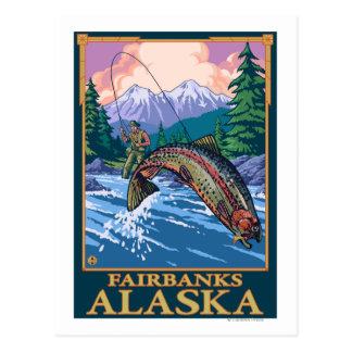Scène de pêche de mouche - Fairbanks, Alaska Carte Postale