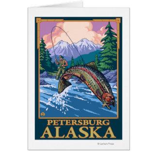 Scène de pêche de mouche - Pétersbourg, Alaska Carte