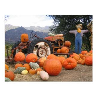 Scène de récolte de citrouille d'automne carte postale
