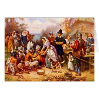 Scène de thanksgiving de carte de voeux de