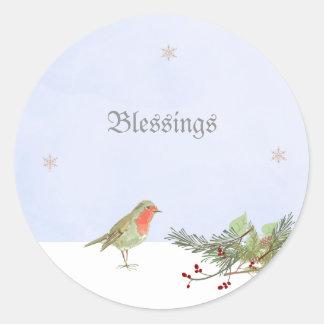 Scène d'hiver de Noël avec l'autocollant de Sticker Rond