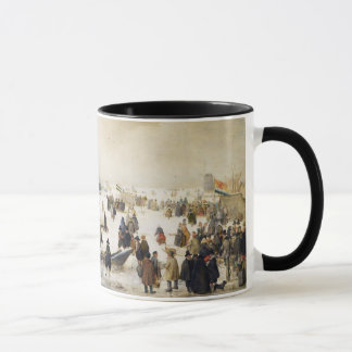 Scène d'hiver sur une tasse de café de canal