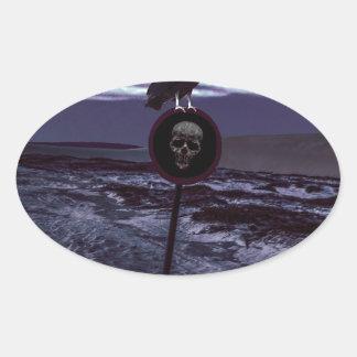 Scène d'obscurité de route de la mort sticker ovale