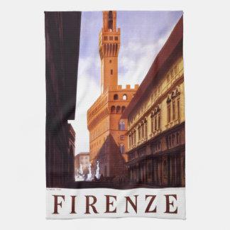Scène italienne vintage d'affiche de tourisme linge de cuisine