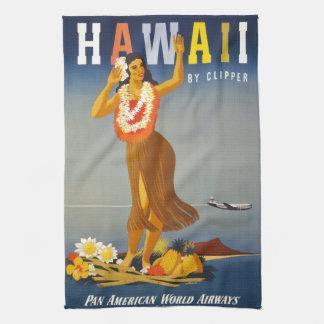 Scène vintage d'affiche de tourisme d'Hawaï Linge De Cuisine