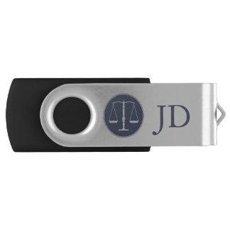 Schalen van Rechtvaardigheid en Initialen Swivel USB 2.0 Stick