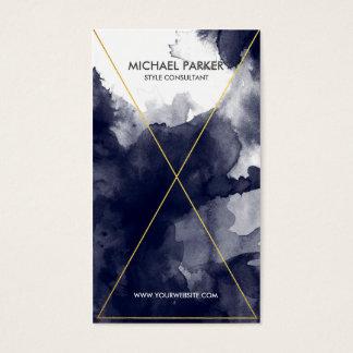 Schéma moderne - aquarelle feuille d'or de bleu cartes de visite