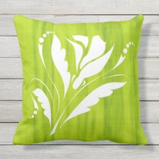 Schitterende BloemenDruk op Groen Limoen Kussen