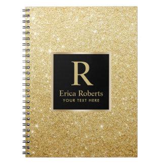 Schittert het Gouden Aanvankelijke Moderne Goud Ringband Notitieboek