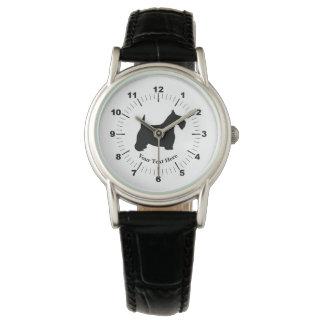 Schots Terrier in Zwarte personaliseert Horloge