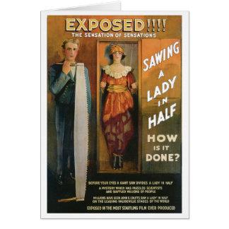 Sciant Madame In Half de ~ de Loi magique vintage Carte