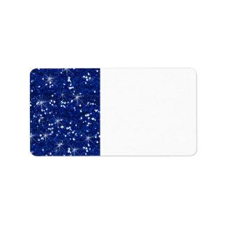 Scintillement de bleu marine imprimé étiquette d'adresse