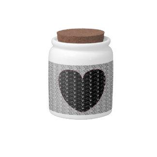 Scintillement de coeur de noir d'argent de pot de  boîtes à bonbons