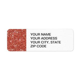 Scintillement de corail imprimé étiquette d'adresse retour