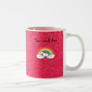 Scintillement de rose de licorne d'arc-en-ciel tasse 2 couleurs
