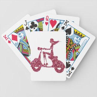 scintillement de rose de scooter de fille cartes à jouer