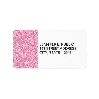 Scintillement de roses pâles imprimé étiquette d'adresse