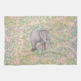 Scintillement d'or de fleurs d'éléphant serviette pour les mains
