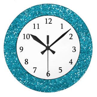 Scintillement élégant de bleu de turquoise grande horloge ronde