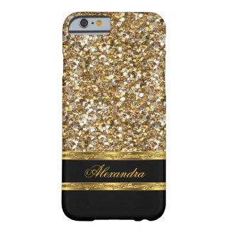 Scintillement élégant de noir et d'or coque barely there iPhone 6