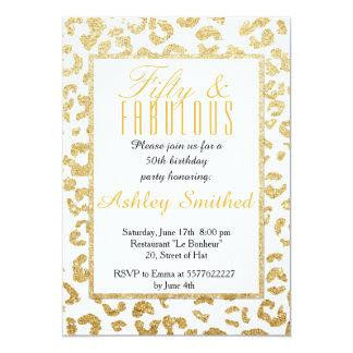 Scintillement moderne 50 fabuleux d'or de motif de carton d'invitation  12,7 cm x 17,78 cm