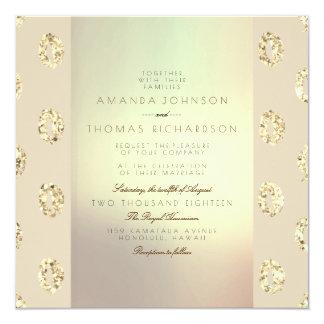 Scintillement nacré d'or d'ornement en ivoire de carton d'invitation  13,33 cm