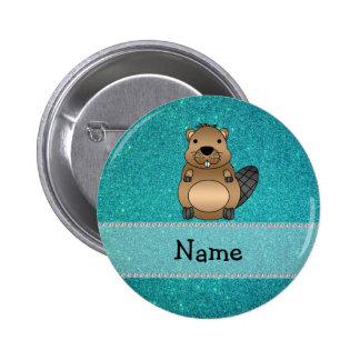 Scintillement nommé personnalisé de turquoise de c badge rond 5 cm