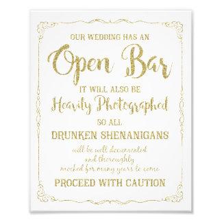 Scintillement ouvert d'or de signe de mariage de impressions photo
