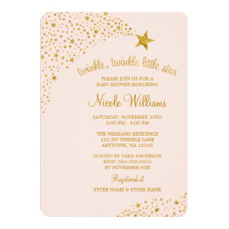 Scintillement peu de baby shower d'or de rose carton d'invitation  12,7 cm x 17,78 cm