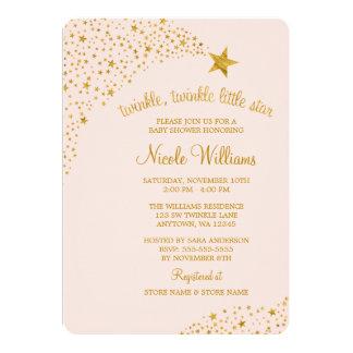 Scintillement peu de baby shower d'or de rose carton d'invitation  12,7 cm x 17,78 cm