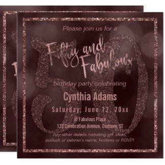 Scintillement rose d'or et Bokeh 50 et typographie Carton D'invitation 13,33 Cm