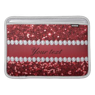 Scintillement rouge et diamants de Faux Housse Pour Macbook Air