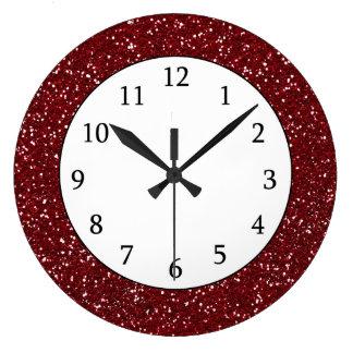 Scintillement rouge foncé élégant grande horloge ronde