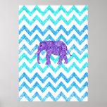 Scintillement turquoise Girly Chevron d'éléphant p Posters