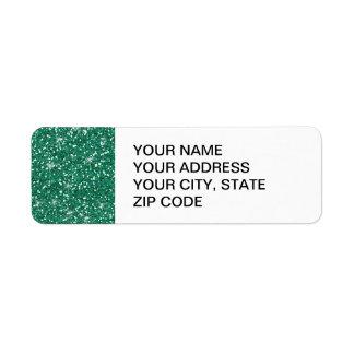Scintillement turquoise imprimé étiquette d'adresse retour