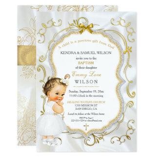 Scintillement vintage de croix d'or de baptême de carton d'invitation  12,7 cm x 17,78 cm