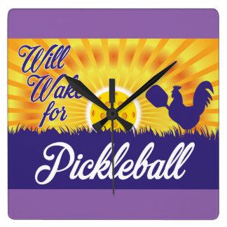"""""""Se réveillera horloge murale pour Pickleball"""""""